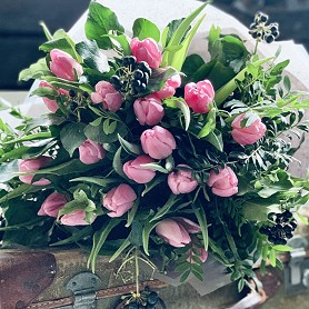 Lucie Mason Flowers Cherish Bouquet pink tulips hand tied bouquet