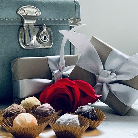 Box of six handmade luxury chocolates, gift wrapped