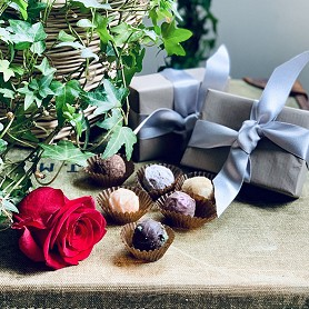 Box of twelve handmade luxury chocolates, giftwrapped